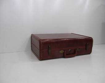 Vintage Suitcase, Vintage Luggage, Brown Samsonite, Hardshell Suitcase, Small Suitcase, Wedding Decor,Tapered Suitcase