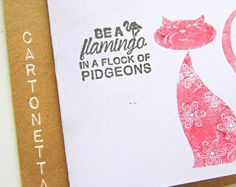 Greeting card with pink cat, handstamped greeting card with quote, card with envelope