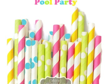 Colorful Paper Straws, Pool Party, Green, Yellow, Pink, Blue, Turquoise Straws, Dots, Vintage, 25 Straws, 5 Designs