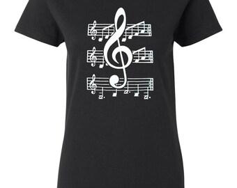 Womens Music T Shirt- G Clef Shirt for Teen Girl - Short Sleeve T Shirt for Women - Graphic Art T Shirt - Cotton T Shirt - Black T Shirt