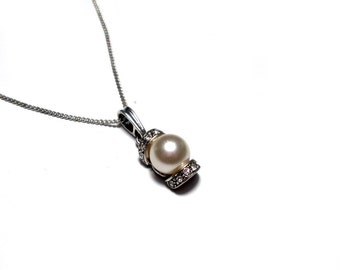 Silver, Necklace Bead pendant necklace with Pearl pedant, Zirkonia Precious Stone Chain