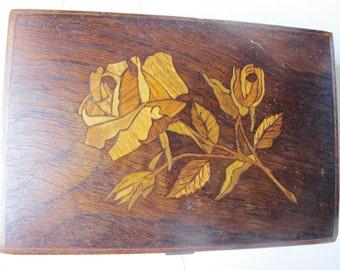 "WOOD INLAY BOX, Roses, Hand Made, German, 6 1/2"" x 4 1/2"" x 2"","