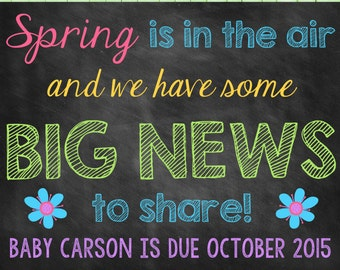 Spring Chalkboard Pregnancy Announcement Pregnancy Reveal Spring Announcement Spring Pregnancy Flower
