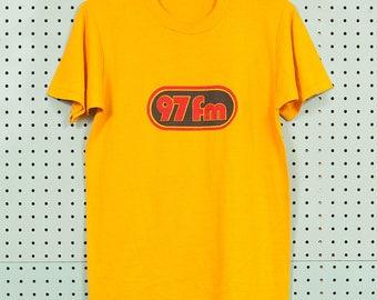 70s/80s Vintage 97FM Radio T Shirt Size S/M Yellow Rock Concert