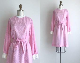 1960s Dress / Vintage 1960s Shift Dress / Pink Polka Dot Dress
