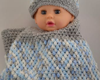 Blue, White and Grey Baby Cocoon with Matching Hat