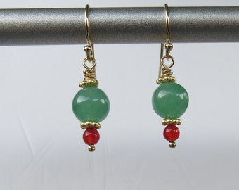Jade and Carnelian Earrings