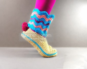 Crochet pattern:women boots on felt soles,all women sizes,loafers,slippers boots,adult,girls,felt soles tutorial included,teen,footwear