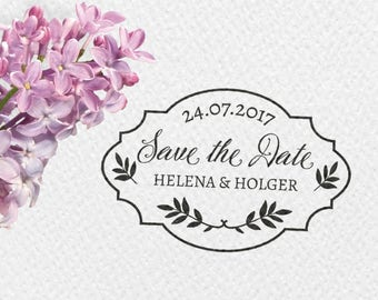 Save the date wedding stamps, 60x40mm, personalizable, individually, rectangular stamp, frames, leaves, twigs, STDST, HSMR1