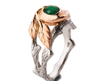 Twig and Leaf Engagement Ring, 18K Rose Gold and Emerald engagement ring, Unique Engagement ring, Two Tone ring, Leaves Emerald ring, 8
