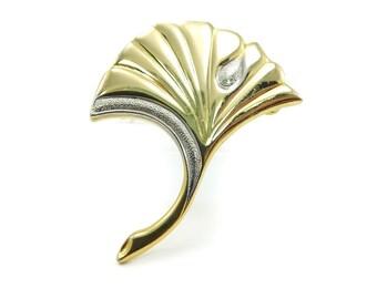 Vintage Ginko Leaf Brooch, Gold Tone, Silver Tone