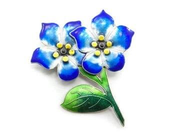 Vintage Zarah Sterling Flower Brooch, Blue, Green, Yellow Enamel, Signed Zarah, S925