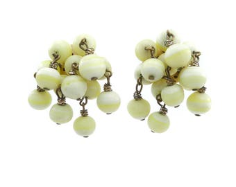 Vintage Glass Cluster Earrings, Pale Yellow, Clip Ons