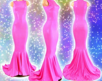Pink Bubblegum Holographic Sleeveless Gown with Crew Neckline and Puddle Train 154312
