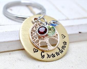 Mothers Day Gift For Grandma, Personalized Grandma Keychain, Birthstone Keychain, Family Tree Keychain, Gift for Grandmother, Gift for Nana
