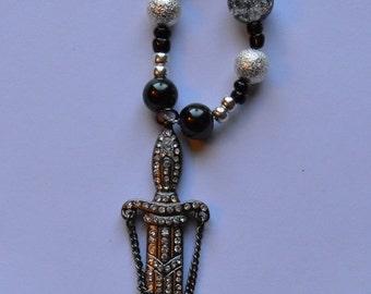Diamond Sword Pendant Necklace