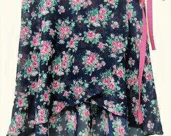 Navy Blue and Pink Floral Ballet Wrap Skirt-  Short