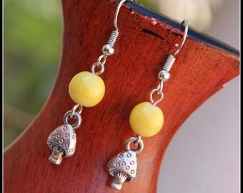 Yellow Earrings, Silver Beaded Earrings
