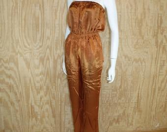 Vintage 1970's Copper Penny Satin Strapless Disco Jumpsuit Jump Suit Romper Small S Medium M