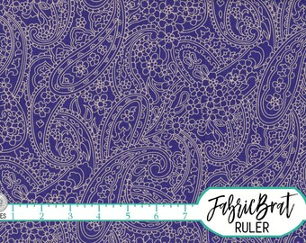 ROYAL PURPLE PAISLEY Fabric by the Yard, Fat Quarter Purple Pailsey Fabric Floral Fabric 100% Cotton Fabric Quilting Fabric Yardage w4-18