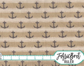 ANCHOR Fabric by the Yard, Fat Quarter STRIPE Fabric Blue & Tan Nautical Fabric 100% Cotton Fabric Quilting Fabric Apparel Fabric a5-38