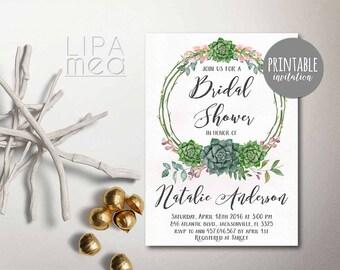 Printable Bridal Shower Invitation, Floral Bridal Shower Invitation, Bohemian Succulent Bridal Shower Invitation, Green Boho Bridal Shower