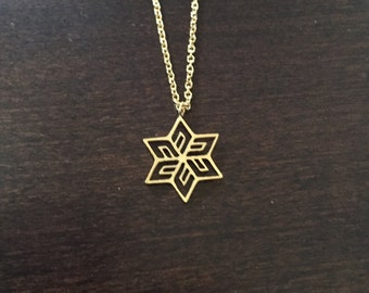 snowflake, snowflake necklace, snowflake jewelry, snowflake pendant, winter necklace, winter jewelry, snow flake necklace, gold necklace