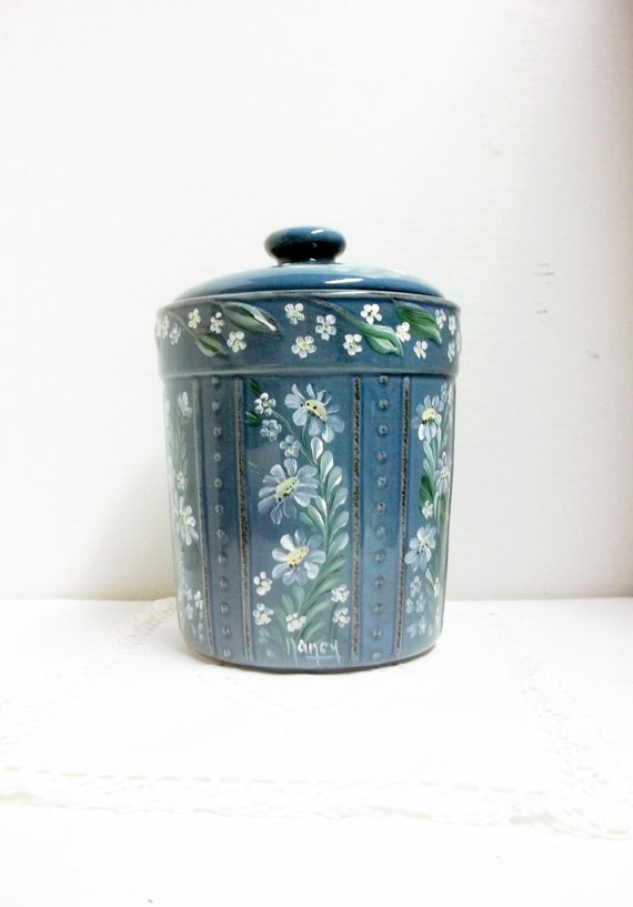 Kitchen Canister Blue Stoneware Cookie Jar Hand Painted
