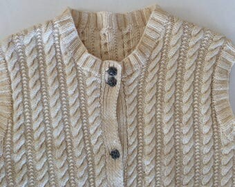 Fisherman Knit Sweater Vest - Yummy & Toasty - Hand Knit - Creamy Cable Knit Vest Sweater