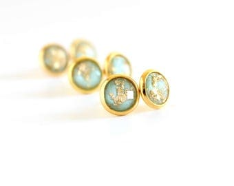 Mint and Gold Studs - gold leaf studs - Mint earrings - mint bridesmaid earrings - mint and gold wedding - small stud earrings - gold studs