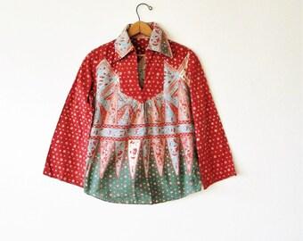Wms Vintage 1960s Peasant Split Neck Collared Blouse Sz S