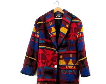 Vintage 1980's Retro Rainbow Aztec Print Jofeld Wool Jacket Sz M