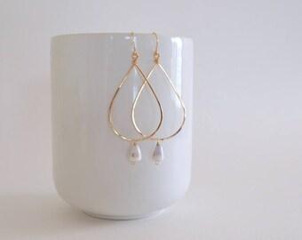 Hawaiian Cone Shell Teardrop Hoop Earrings, Gold Filled