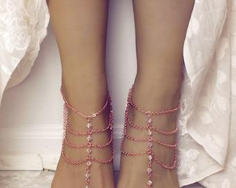 Madison Barefoot Sandals Rose Gold Bare Sandals Rose Gold Barefoot Sandals Swarovski Foot Jewelry Anklet Bridal Sandals Beach wedding Shoes