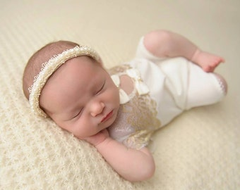 Newborn Romper Prop; Ivory; Golden Lace; Newborn Girl Outfit; Baby Girl Romper; Newborn Photo Prop; Photography Prop