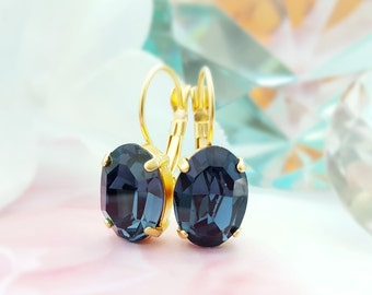Blue Crystal Drop Earrings, Swarovski Montana Crystals, Oval Gold Earrings, Sapphire Blue, September Birthstone, Gold Leverback, E3455