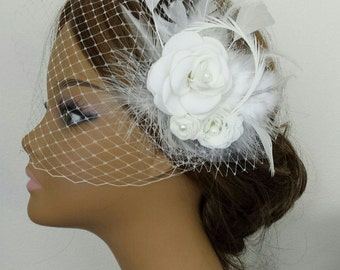 """BRIDAL HEADPIECE With or Without Birdcage Veil, Bridal Hair Accessory, Flower Bridal Headpiece """"BRANDI"""""""