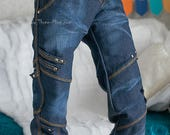 Washed dark blue jeans for 70+ BJD boy (fit 5th motif body)