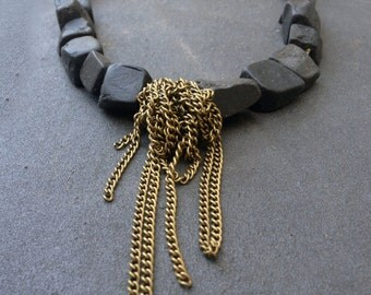Big Stone Necklace, Onyx Necklace, Short Statement Necklace, Big Short Necklace, Stone Chain Necklace, Rustic Necklace, Rough Stone Necklace