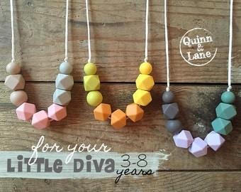 Kids Fidget Necklace - Toddler Jewellery - Kids Jewelry - Silicone Beads - Teething Beads - Chew Jewellery Beads for Kids - Itty Bitty Hex