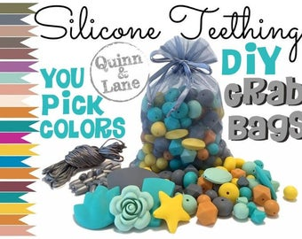 Silicone Beads GRAB BAG - Choose Colors - Loose Lot of Teething Beads - Baby Chew Jewelry Beads - Teething & Nursing Necklace DIY Supplies