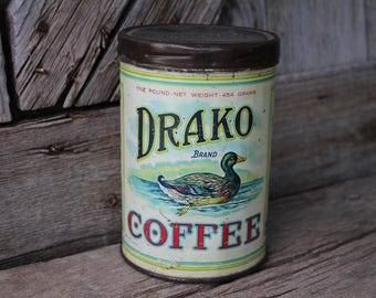 Drako Brand Coffee Tin Can with Mallard Duck Graphics - Drake & Co.