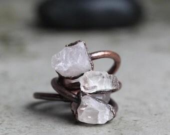 Rose Quartz Ring Crystal Ring Electroformed Copper Raw Rose Quartz Ring Stone Ring Pink Stone Natural Stone Pink Ring