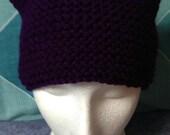 Purple Beanie Hat Purple Pussy Hat Purple Cat Ears Hat Dark Purple Hat Dark Purple Beanie Knitted Hat Woolly Hat Chunky Beanie Hat