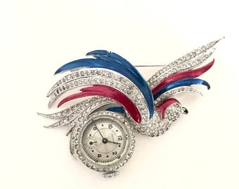 Art Deco Watch Brooch with Rhinestone and Enamel Bird by Gotham Watch Co, Silver, Red, White and Blue