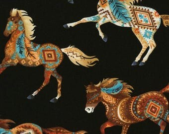 Southwest Horse Fabric, Native American Design, Western Fabric - Timeless Treasures c 5036  Black - Priced by the Half yard