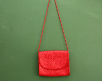 Vintage Red Straw Crossbody Purse [Made in Italy/ By: Vanessa/ Good Condition/Small Clutch Handbag Evening Bag] 10 inches by 8 inches
