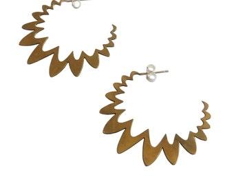 Squiggle Hoop Earrings; Hoop Earrings; Post Earrings; Fun Earrings; Statement Earrings; Boho Earrings; Statement Jewelry; Squiggle Earrings