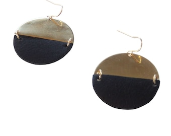 Black and Brass Semi Circle Earrings; Dangle Earrings; Geometric Earrings; Semi Circle Jewelry; Geometric Jewelry; Light and Dark
