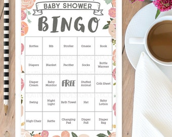 Vintage Rose Baby Shower Bingo  - 50 Unique Game Sheets - Baby Shower Games - Girl Baby Shower - Pink - Instant Download